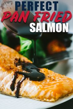 You won't believe how easy it is to make perfectly cooked salmon on your stovetop! This pan fried salmon has extra crispy skin and is topped with a blackberry balsamic sauce that makes this meal easy enough for a weeknight and elegant enough for company! Salmon On Stove Top, Salmon Recipes Stove Top, Easy Salmon Recipes, Delicious Dinner Recipes, Fish Recipes, Meat Recipes, Seafood Recipes, Drink Recipes, Delicious Food