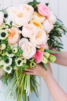 Love all these garden roses + anemones + parrot tulips from http://www.flowermuse.com for a DIY bouquet