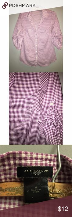 Ann Taylor purple & white gingham Button Down Sz 8 Ann Taylor purple and white gingham Button Down. Sz 8. Shirt has 3/4 sleeves with tabs to ruche shirt. Please ask any and all questions prior to purchase. Ann Taylor Tops Button Down Shirts