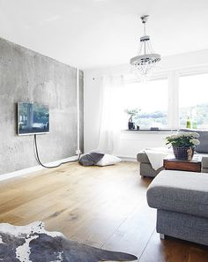 Living Room With A Concrete Wall » Coco Lapine Designcoco Lapine Beauteous Cement Showcase Designs Living Room Design Ideas