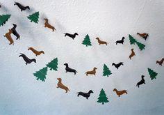 Dachshund Christmas Paper Garland by HookedonArtsNCrafts on Etsy