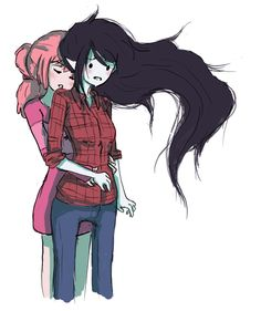 Bubble gum and Marceline (I don't ship them. I see them as best friends, like sisters)<<<<<I ship them hard ,it was said by a someone working on the show that marceline and bubblegum used to date Adventure Time Marceline, Adventure Time Art, Lesbian Art, Lesbian Love, Marshall Lee, Lgbt Anime, Princesse Chewing-gum, Anime Girls, Abenteuerzeit Mit Finn Und Jake