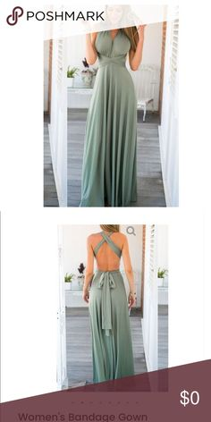 Venus Maxi Dress ☀️ Beautiful flowy Maxi Dress, Bandage style!!  Gorgeous Beach Sage!! Perfect Stretch Polyester |Cotton Blend silky feel!! Hand Wash Available in Small Medium Large HipFinds Dresses Maxi