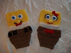 Crocheted Baby Sponge Head Diaper Set Photo by KaydeCountryCottage, $25.00 ( I would do differently )