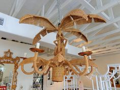Woven Palm Tree and Monkey Chandelier