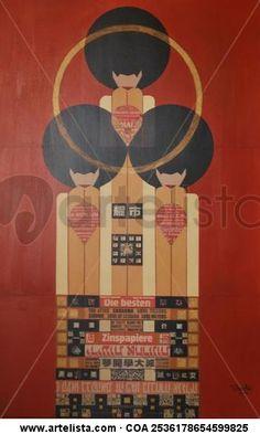 Trio - collage sobre tabla - manuel buendia sanchez