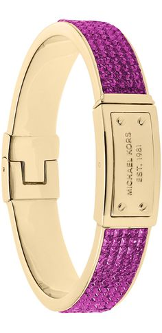 Michael Kors Pave Plaque Bangle, Berry/Golden LOOKandLOVEwithLOLO