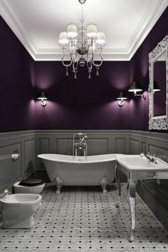 prachtvolle badezimmer farbgestaltung in lila und grau