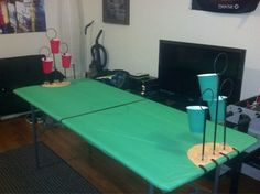 Harry Potter Beer Pong for the adults!!! This seems more feasible than the other beer pong quiddich set up.