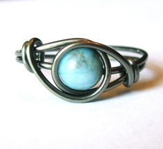 Turquoise Ring - Wire Wrapped - Rings - Boho Jewelry - Bohemian Rings…