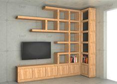 Smart home TV pole Corner Shelf Design, Tv Wall Design, Bookshelf Design, Wall Shelves Design, House Design, Corner Bookshelves, Tv Unit Furniture, Home Decor Furniture, Furniture Design