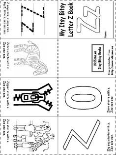 Free letter Z alphabet printable activities: coloring pages, color posters, handwriting worksheets and more, suitable for preschool and early elementary. Alphabet Phonics, Teaching The Alphabet, Preschool Letters, Letter Activities, Alphabet Book, Preschool Curriculum, Preschool Lessons, Preschool Worksheets, Preschool Learning