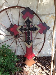 Extra Extra Large 29x39x3  Brown, Red Crackle and Camel Wood Cross