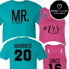 Mr. and Mrs. Married Since Flowy Racerback Tank and Tee Set /// #beforetheidos #mrandmrs #weddinganniversary