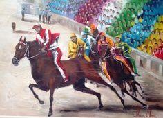 Horse Racing ~ 3012 - Corrida di palio II - Картина,  70x50 cm ©2010 - Silvana Oliveira -            corrida Di Palio, óleo sobre tela silvana Oliveira www.silvanaoliveira.art.br