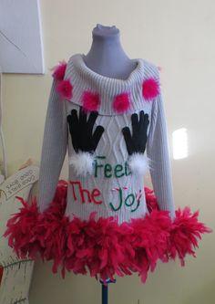 a81cce4faf0 Cute Flirty Feel the Joy Tacky Ugly Christmas Sweater FooFoo Feather Boa  Glam womens sz Medium Mini Dress Grey Sweater