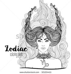 Zodiac: Illustration of Capricorn astrological sign as a beautiful girl isolated…