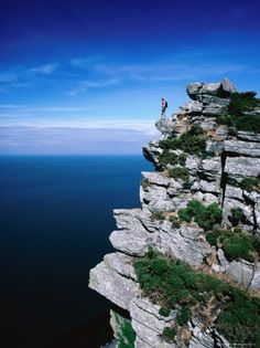 Standing on Edge of Cliff Top in the Valley of the Rocks, Exmoor National Park…