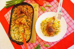 Pečená kuřecí stehna s rýží z jednoho pekáče Food To Go, Macaroni And Cheese, Chicken, Ethnic Recipes, Mac And Cheese, Portable Food, Cubs