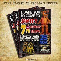Five Nights At Freddy's Birthday Invitation Five by PrintableETC