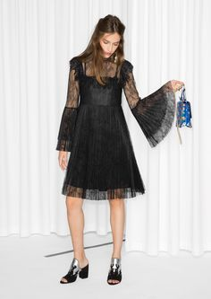 & Other Stories image 2 of Pleated Lace Dress in Black
