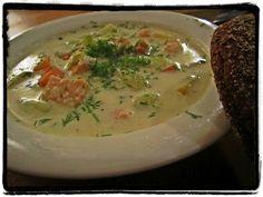 Salmon soup made into cream