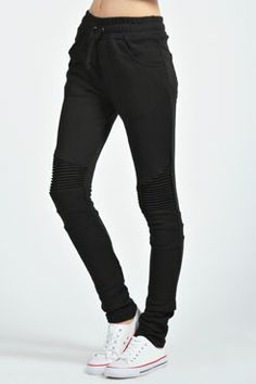 Lucy Slim Line Motorcycle Joggers at boohoo.com