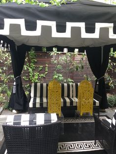 Black and white cabana styled by @Tracy Stern