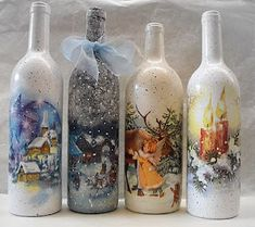 decoupage works from around the world - DIY @ Craft's Wine Bottle Art, Painted Wine Bottles, Diy Bottle, Wine Bottle Crafts, Jar Crafts, Decorated Bottles, Bottle Lamps, Christmas Decoupage, Christmas Crafts