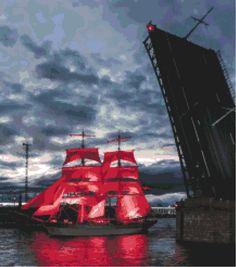 Алые паруса - Схема вышивки крестом по фото
