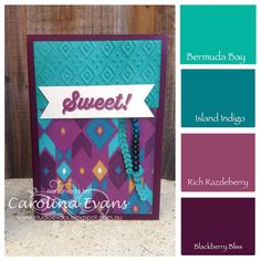Quick Bohemian DSP Cards with Bravo Stamp Set Greetings - great colour combinations Bermuda Bay, Island Indigo, Rich Razzleberry & Blackberry Bliss #stampinup