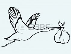 awesome  baby boy stork clipart hd Vector Of A Cartoon Stork Delivering A Baby Hippo Coloring Page