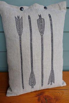 pillow cushion linen arrows archery block print  (graphite on toast). $48.00, via Etsy.