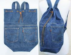 denim backpack upcycled blue jeans drawstring by UpcycledDenimShop