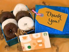 Next time you give a coffee shop gift card, add a few store bought or homemade doughnuts!