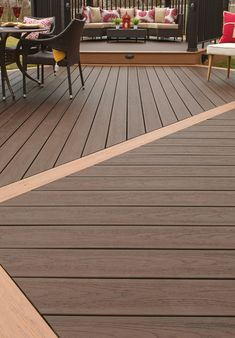Decking shapes have evolved! Our EasyClean Tropical Teak Deck incorporates different board directions and in interspersed with a different shade of picture frame Deck Maintenance, Room Additions, Composite Decking, Deck Design, Recycled Wood, Teak, Picture Frames, Composition, Hardwood