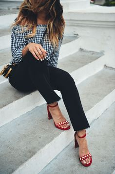 Gingham and red pearl suede shoes.