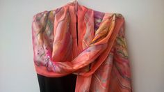 Pink Silk Scarf for Ladies Hand Painted Blossom by SilkLetters