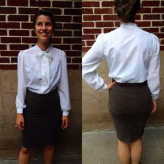 VTG White Embroidered Secretary Blouse // Tie by BelleEpoqueVTG