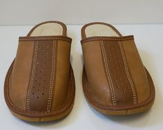 SALE  Men's Natural Leather wool SLIPPERS  by TrendingSlippers