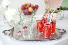 strawberry rhubarb mojito and rosemary strawberry spritzer. YUM!
