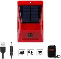 Solar Alarm Light with Motion Sensor, New Chargable Solar Strobe Light with Remote Controller, 129dB Loud Siren Led Strobe, Strobe Light, Security Tools, Security Alarm, Motion Detector, Color Box, Alarm System, Strobing, Solar Panels