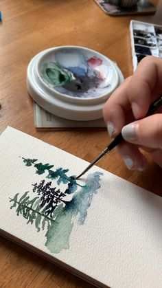 Aquarell Kiefern malen Unlock the mystery of watercolor pine trees with this dreamy Skillshare class 😍, Watercolor Painting Techniques, Watercolor Video, Watercolor Trees, Watercolour Tutorials, Watercolor Cards, Painting & Drawing, Watercolor Paintings, Watercolor Water, Watercolour Tips