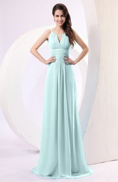 Blue Glass Simple Column Scoop Chiffon Ruching Bridesmaid Dresses
