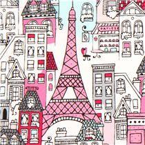 Tessuto bianco Parigi cafés e case di Robert Kaufman, USA