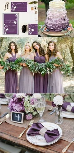 romantic purple wedding color ideas with purple and white wedding invitations