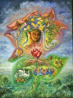 As winter finally gives up its icy hold, there is a feeling of anticipation in the air. Something amazing is about to happen! The rainbow haired goddess focuses her power and spring bursts forth, bringing new life to the world. Happy Spring!  Art by Josephine Wall