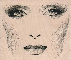Woman facial features face   stamp    unMounted   rubber stamp    stamp number 5908. $7,20, via Etsy.