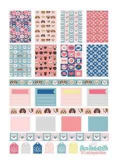 Free Printable Little Puppies Planner Stickers from stickystickies Free Planner, Planner Pages, Happy Planner, Planner Ideas, Glam Planner, Project Life, Agendas Diy, Wash Tape, Freebies