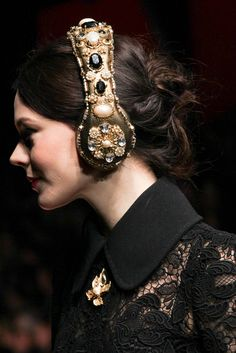 Most elegantly bling'd out headphones ever. Dolce & Gabbana ; Fall 2015 Ready-to-Wear -  Details